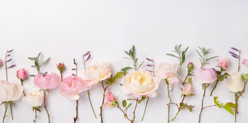 Composición festiva de la flor en el fondo de madera blanco Visión de arriba imagenes de archivo