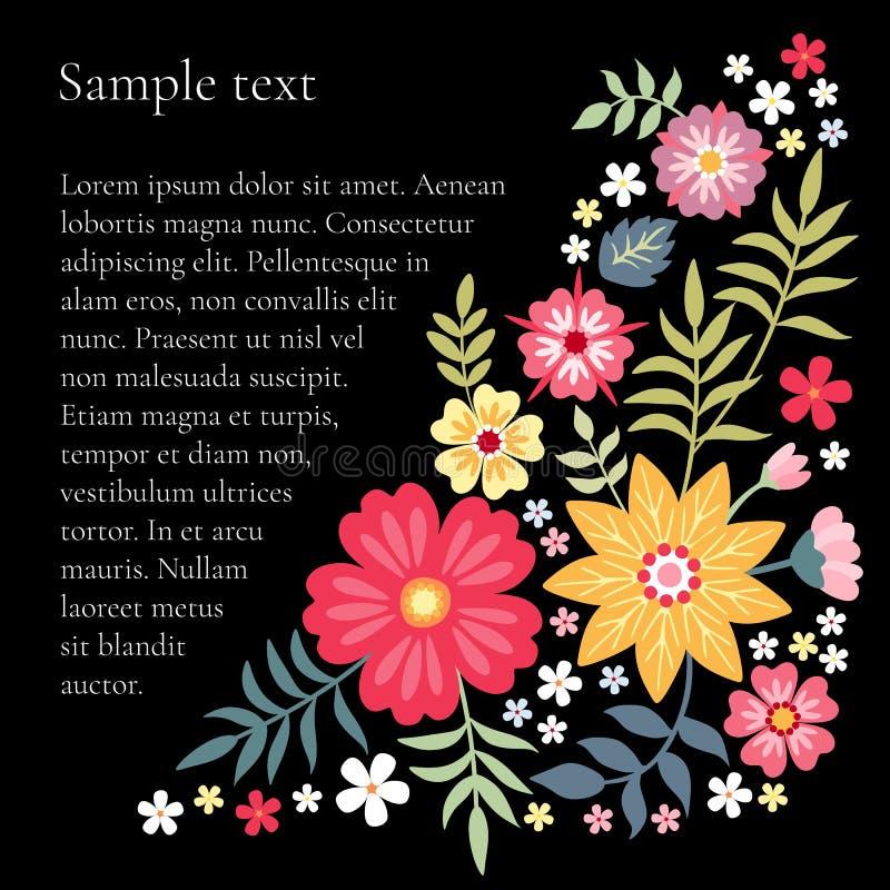 Composición floral con las flores brillantes del verano y lugar para el texto Plantilla hermosa para las tarjetas libre illustration