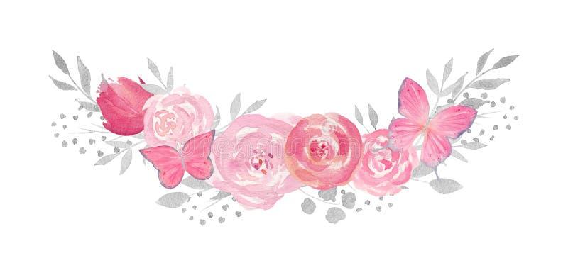 Composición floral de la acuarela con la rosa, las hojas, las flores, los butterfies y las ramas libre illustration