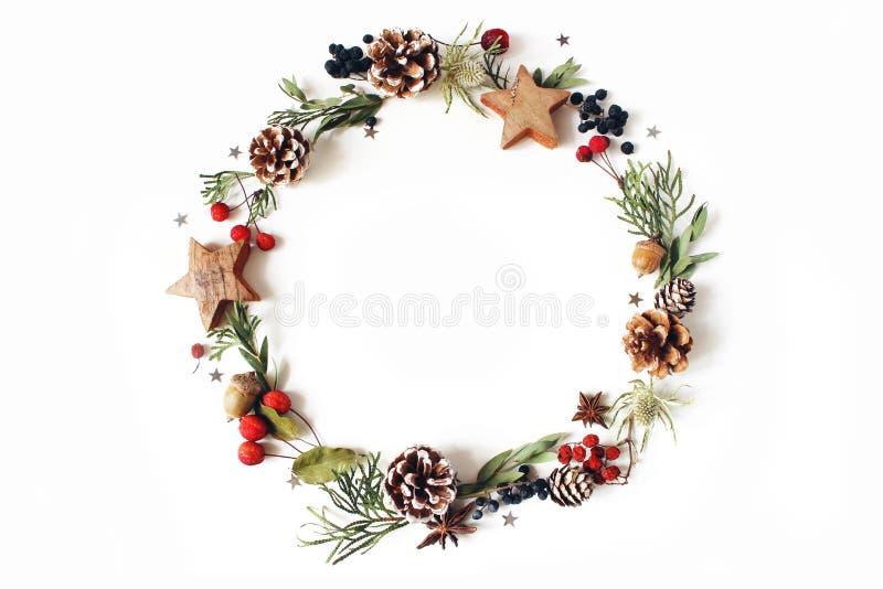 Composición floral del círculo de la Navidad Guirnalda del ciprés, ramas del eucalipto, conos del pino, bayas de serbal, anís, co fotos de archivo libres de regalías
