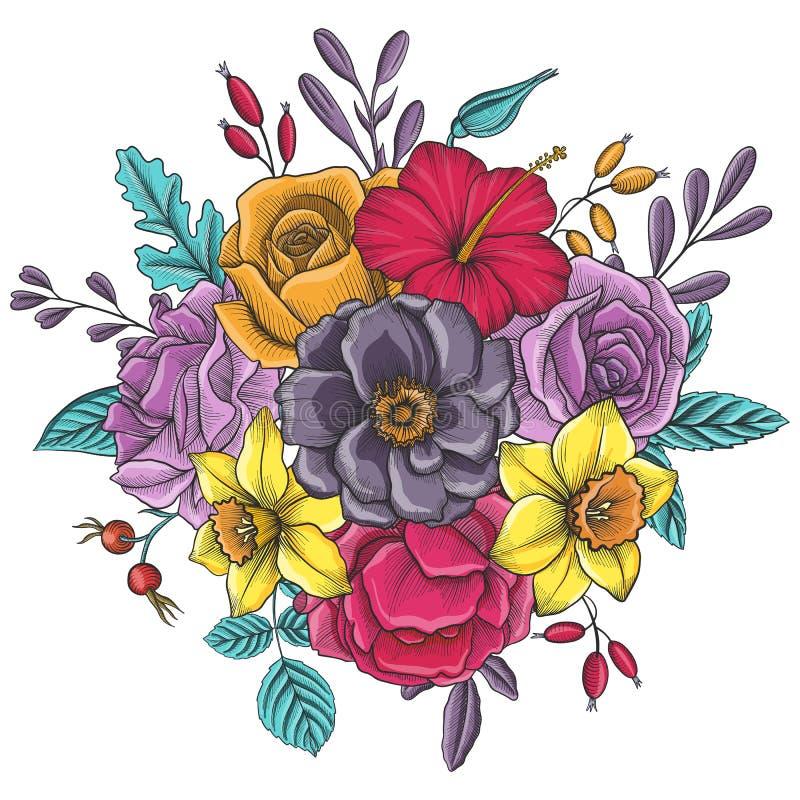 Composición floral del vector del vintage stock de ilustración