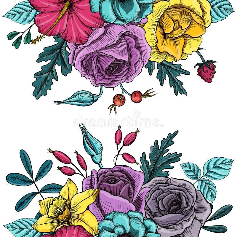 Composición floral del vector del vintage ilustración del vector