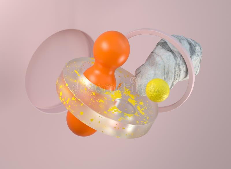 composición geométrica abstracta moderna 3d ilustración del vector