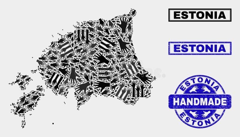 Composición hecha a mano del mapa de Estonia y del sello de la desolación stock de ilustración