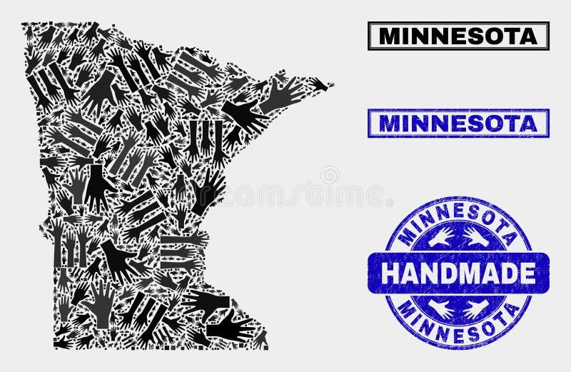 Composición hecha a mano del mapa del estado de Minnesota y del sello rasguñado stock de ilustración