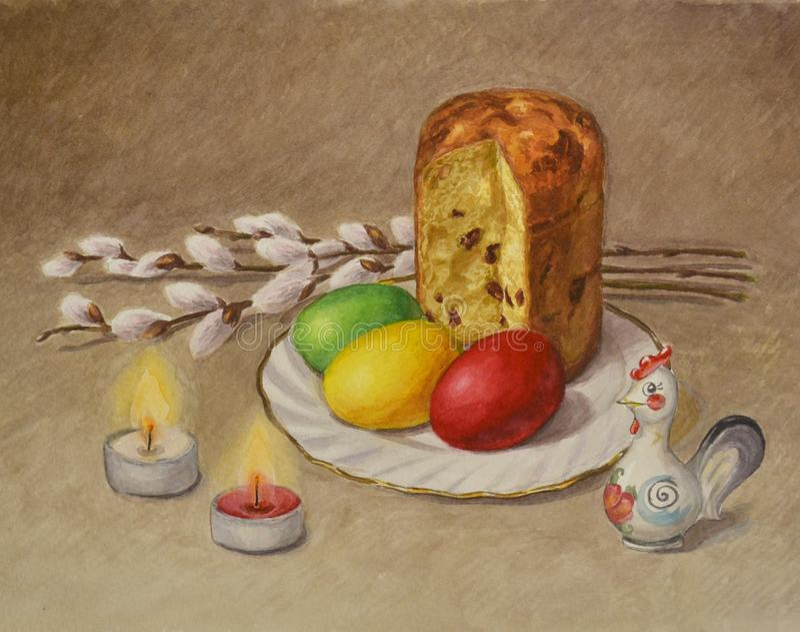 Composición hermosa brillante de las ramas del sauce, de la torta de Pascua, de huevos pintados, de figurillas del gallo y de dos fotos de archivo