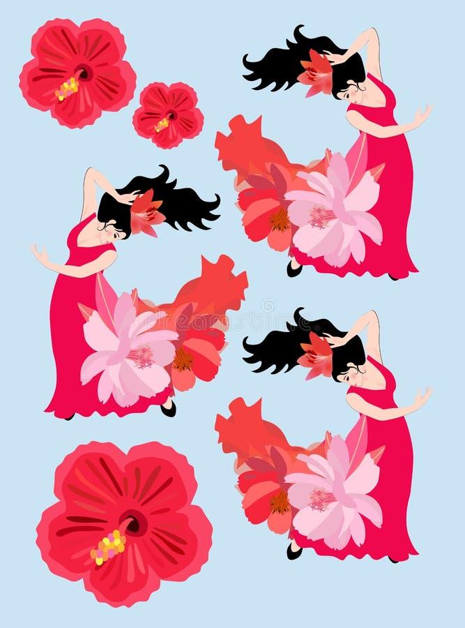 Composición hermosa con las muchachas españolas que bailan flamenco aislada en fondo azul Flores rojas Flores del lirio stock de ilustración