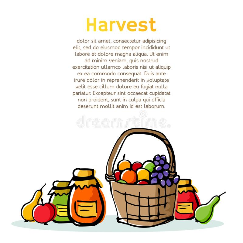 Composición incompleta de la temporada de otoño con el ahorro del alimento biológico del jardín libre illustration