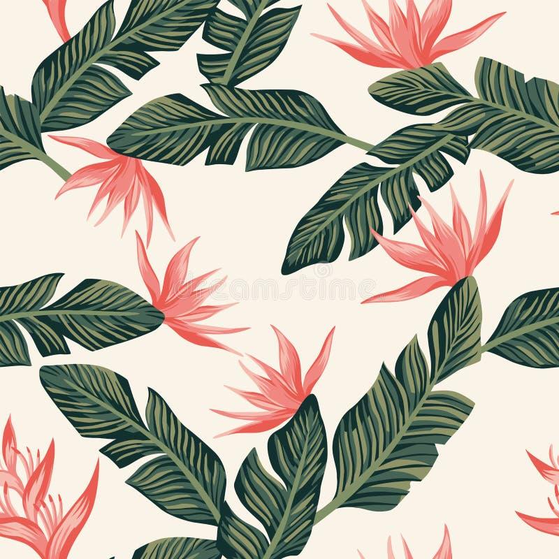 Composición inconsútil de las hojas tropicales verde oscuro del plátano y ilustración del vector