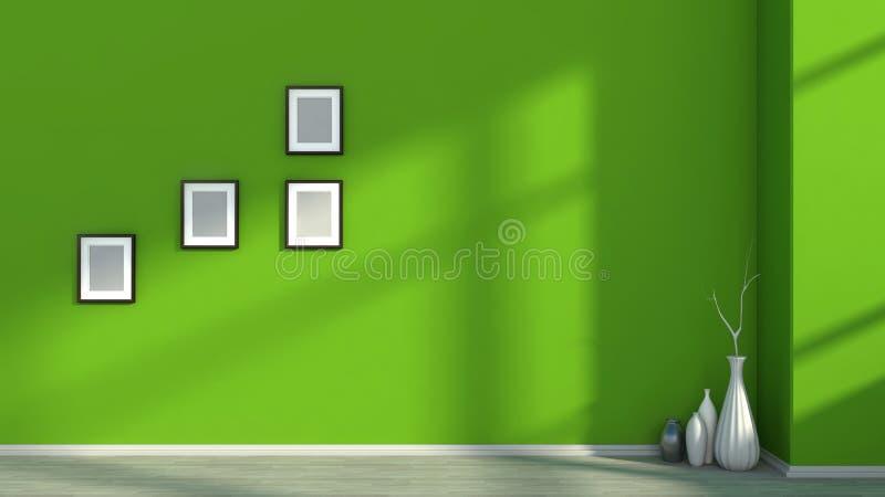 Composición interior moderna con las imágenes en blanco en la pared y el florero ilustración del vector