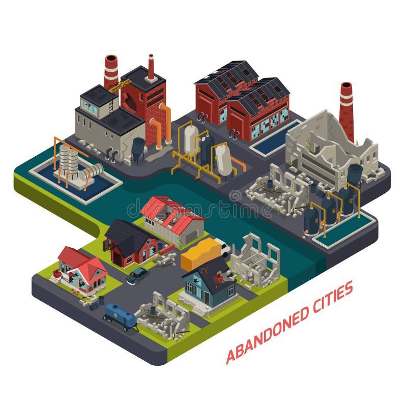 Composición isométrica abandonada de las ciudades libre illustration