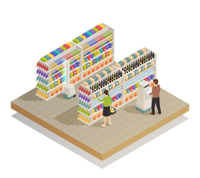 Composición isométrica automatizada supermercado de las tecnologías stock de ilustración