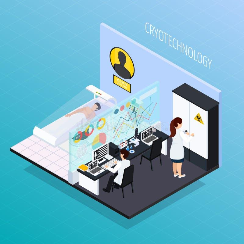 Composición isométrica clínica de Cryotechnology stock de ilustración