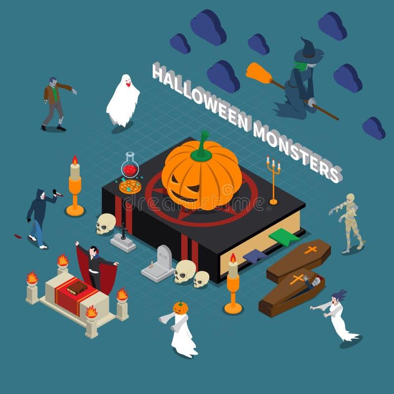 Composición isométrica de Halloween del monstruo libre illustration