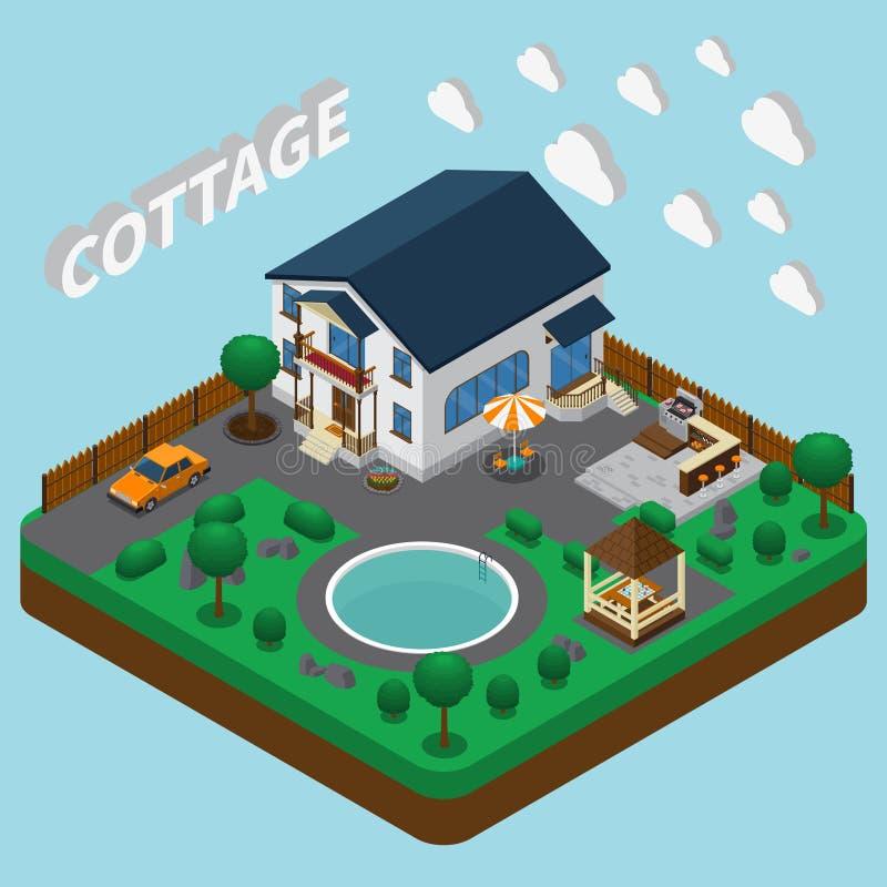 Composición isométrica de la casa de vacaciones stock de ilustración