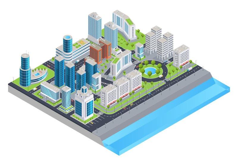 Composición isométrica de la ciudad stock de ilustración