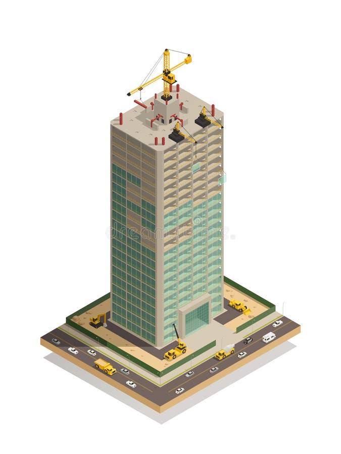 Composición isométrica de la construcción del rascacielos libre illustration
