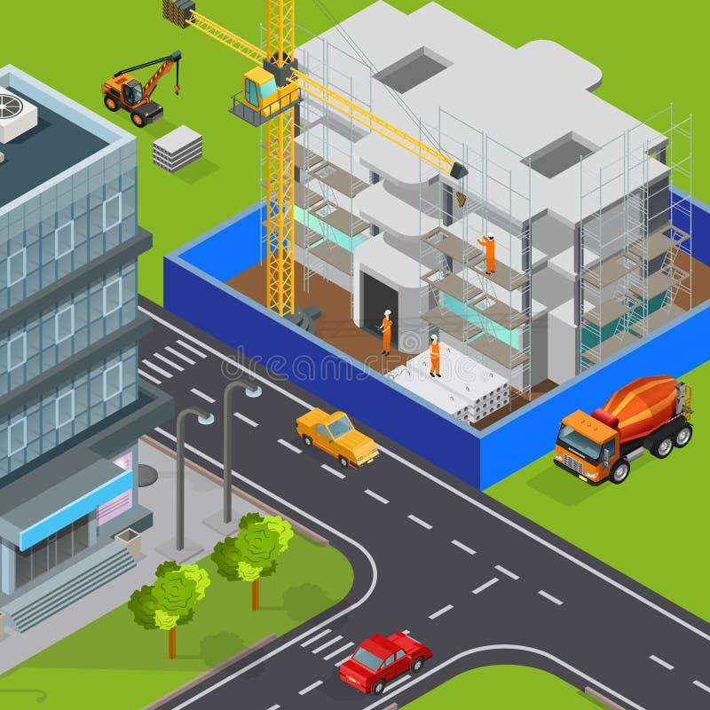 Composición isométrica de la construcción urbana stock de ilustración