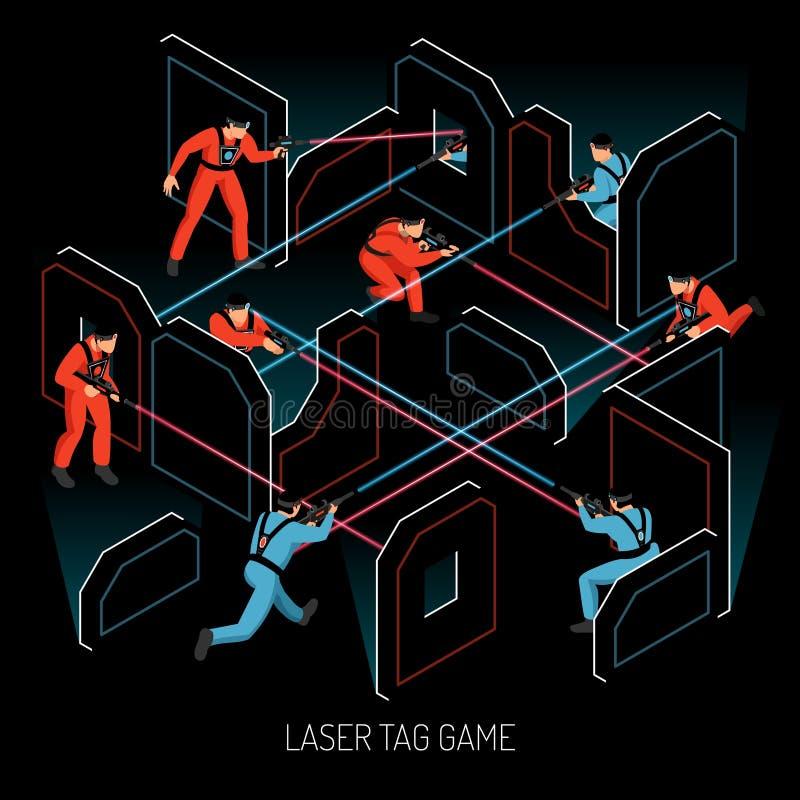 Composición isométrica de la etiqueta del laser ilustración del vector