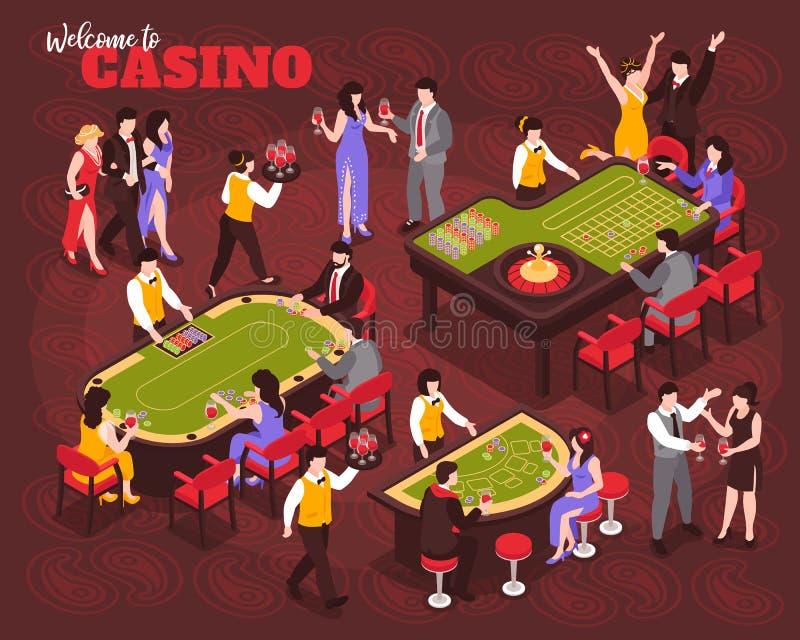 Composición isométrica de la gente del casino ilustración del vector