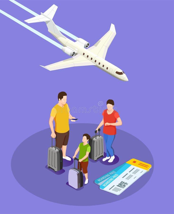 Composición isométrica de la gente que viaja stock de ilustración