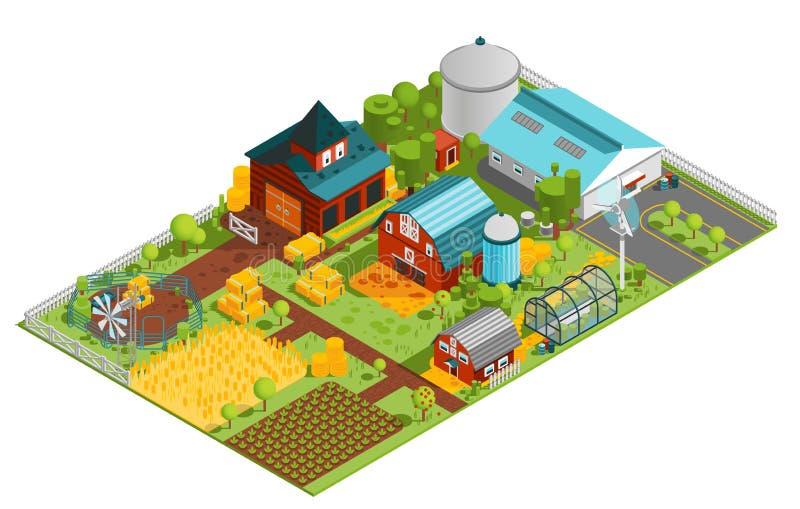 Composición isométrica de la granja rural stock de ilustración