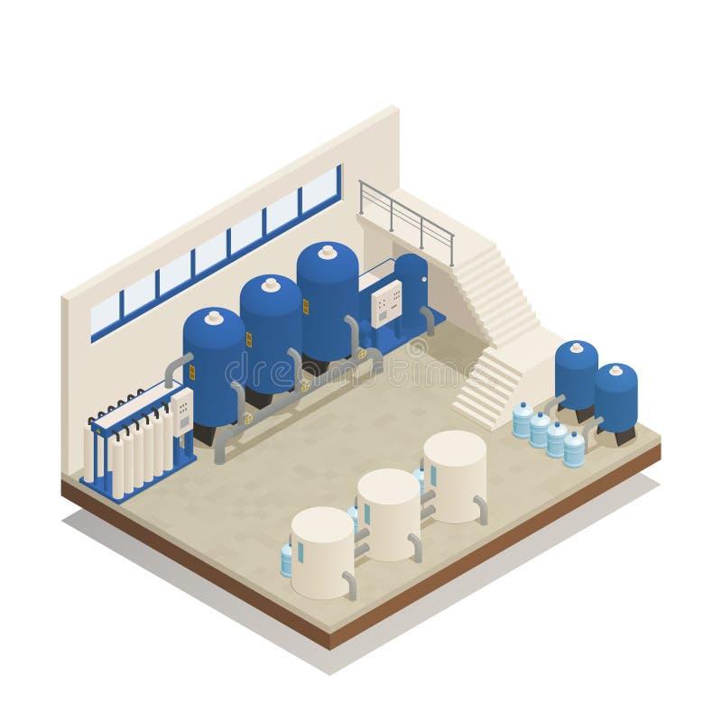 Composición isométrica de la instalación de la limpieza del agua ilustración del vector