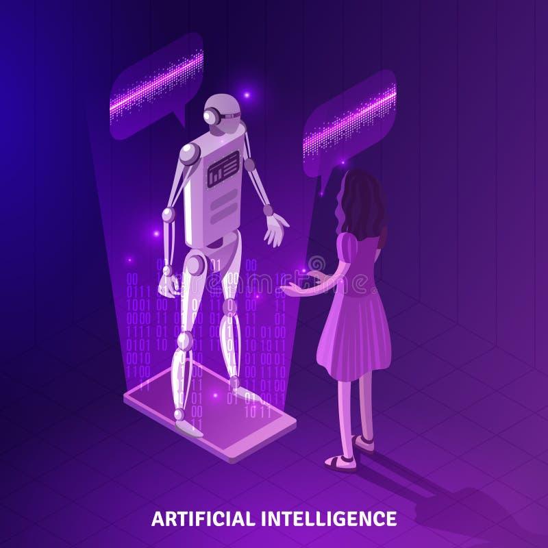 Composición isométrica de la inteligencia artificial stock de ilustración