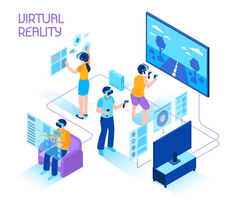 Composición isométrica de la realidad virtual ilustración del vector