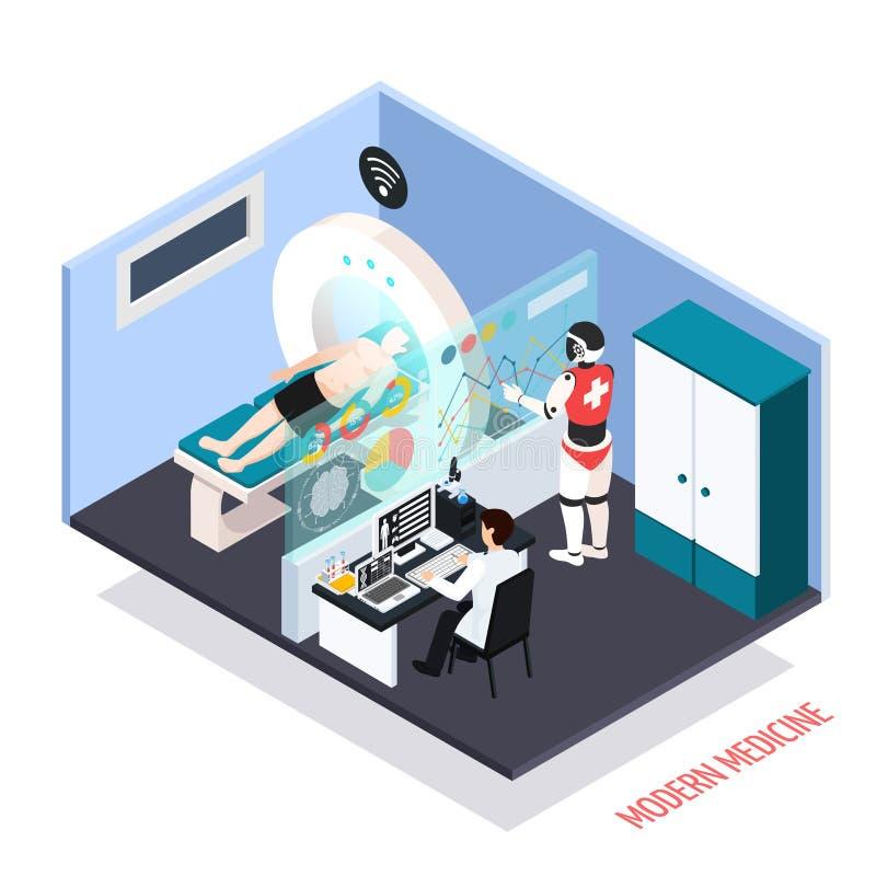 Composición isométrica de las tecnologías médicas ilustración del vector
