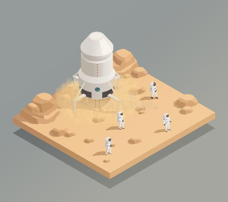 Composición isométrica de los astronautas del equipo de la nave espacial ilustración del vector