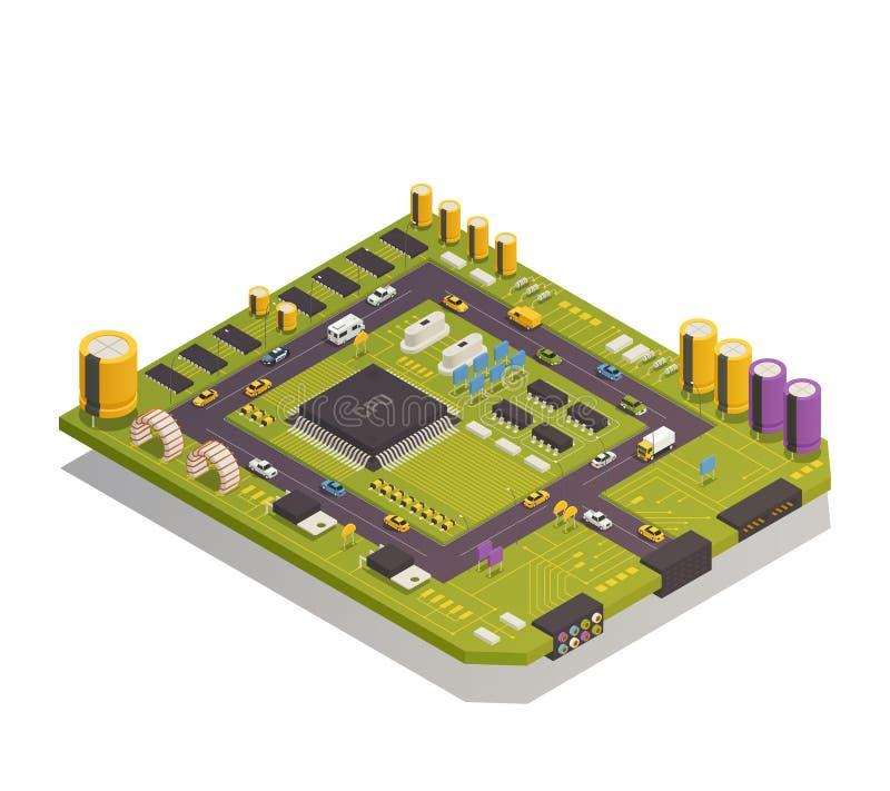 Composición isométrica de los componentes electrónicos del semiconductor ilustración del vector