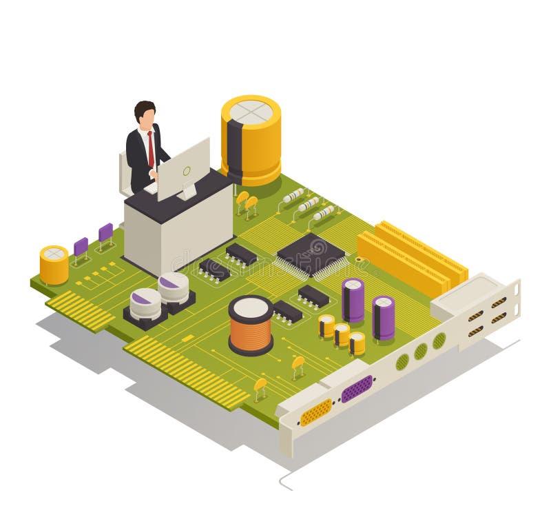 Composición isométrica de los componentes electrónicos del semiconductor stock de ilustración