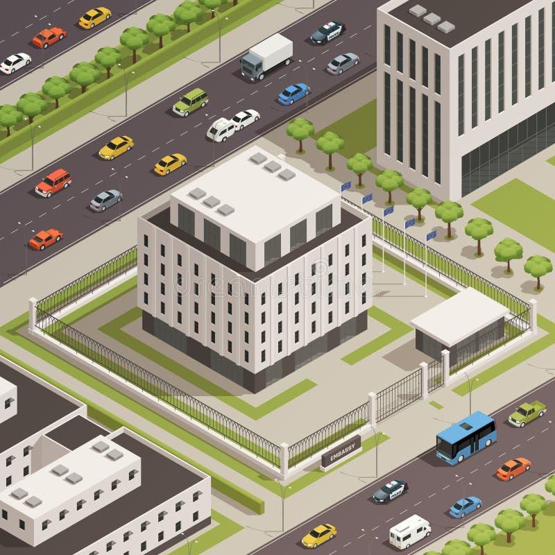 Composición isométrica de los edificios del gobierno municipal libre illustration
