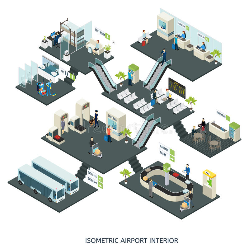Composición isométrica de los pasillos del aeropuerto ilustración del vector