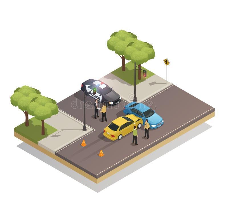 Composición isométrica del accidente de la colisión del camino stock de ilustración