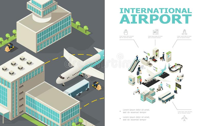 Composición isométrica del aeropuerto internacional stock de ilustración