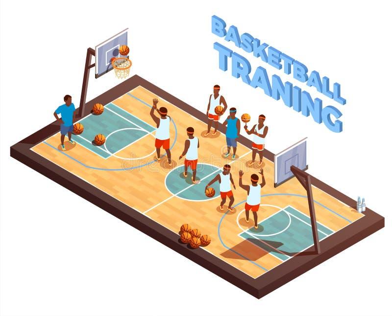 Composición isométrica del baloncesto del entrenamiento libre illustration