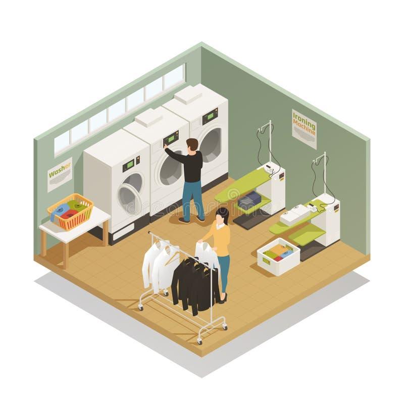 Composición isométrica del equipo de lavadero libre illustration