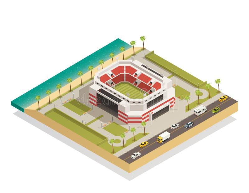 Composición isométrica del estadio del deporte del fútbol libre illustration