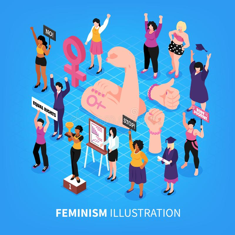 Composición isométrica del fondo del feminismo libre illustration