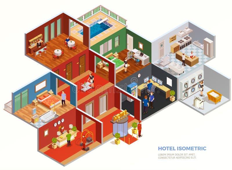 Composición isométrica del hotel ilustración del vector
