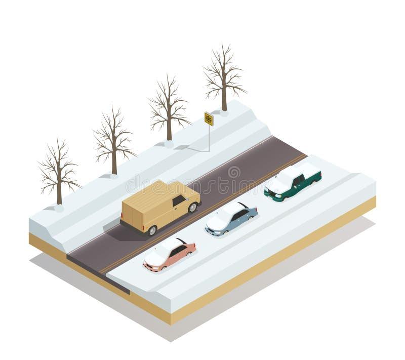 Composición isométrica del paisaje del camino del invierno ilustración del vector
