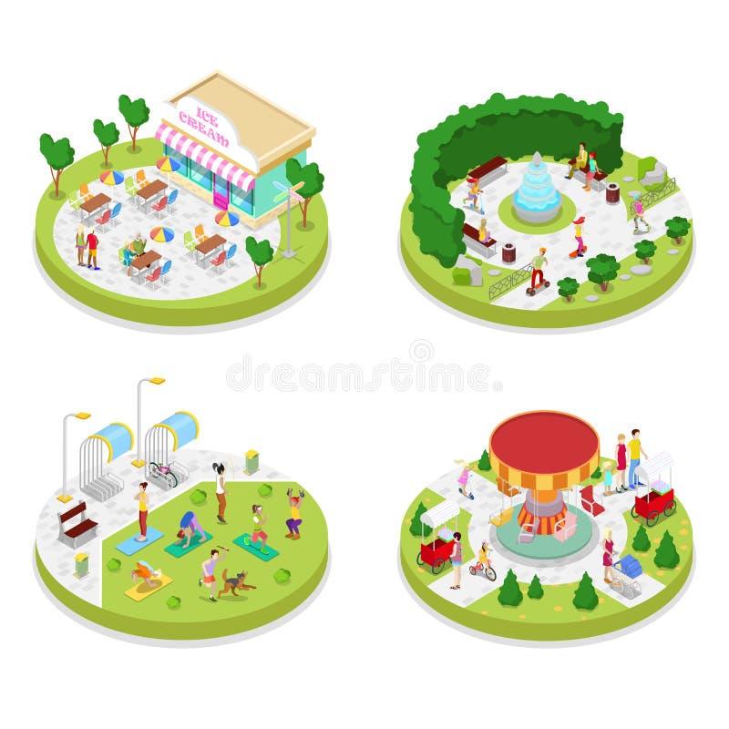 Composición isométrica del parque de la ciudad con la gente y el café que caminan Actividad al aire libre stock de ilustración