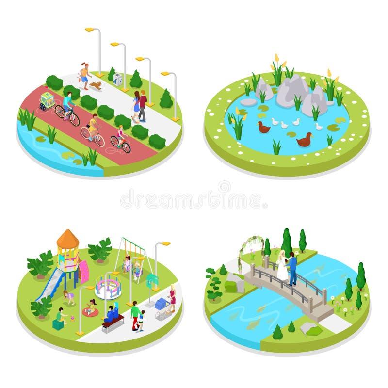 Composición isométrica del parque de la ciudad con la gente y los ciclistas que caminan Actividad al aire libre ilustración del vector
