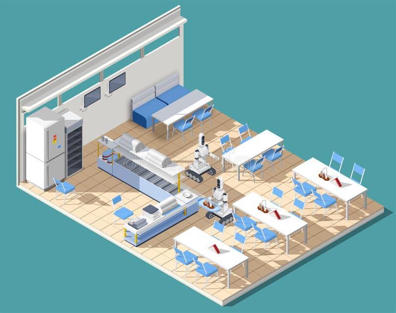 Composición isométrica del restaurante de comida rápida libre illustration