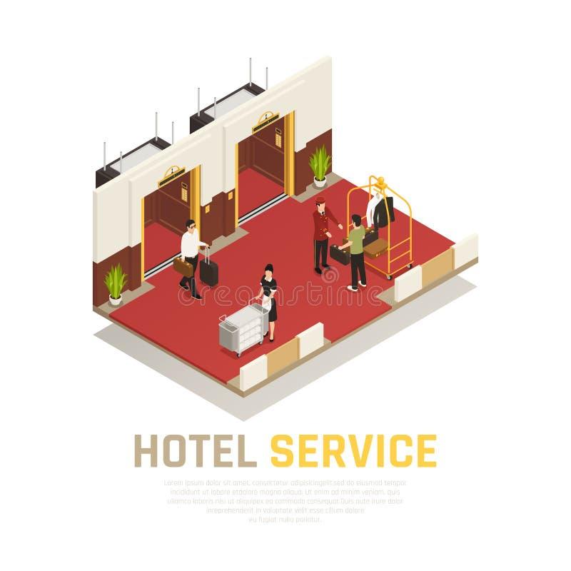 Composición isométrica del servicio de hotel libre illustration