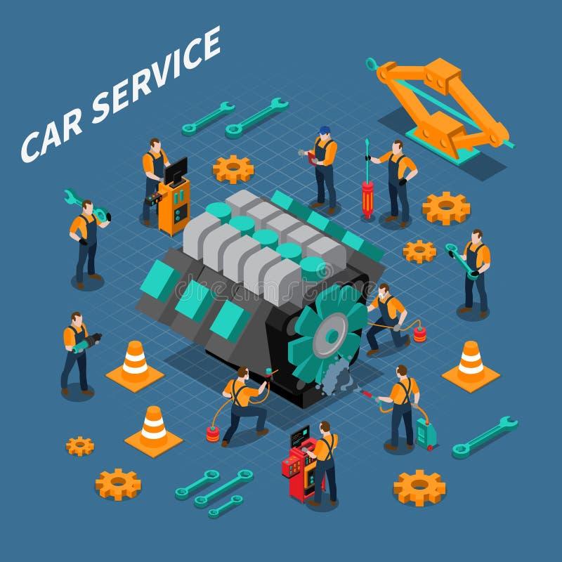 Composición isométrica del servicio del coche libre illustration
