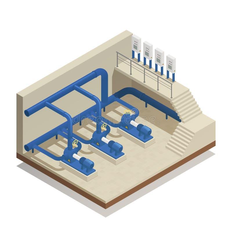 Composición isométrica del sistema de la limpieza del agua stock de ilustración