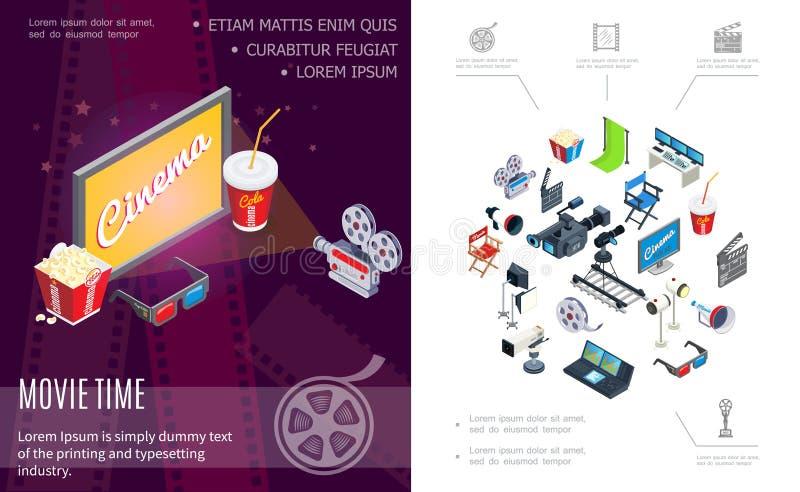 Composición isométrica del tiempo de película stock de ilustración